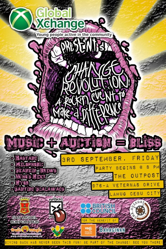 global xchange change revolution benefit concert poster