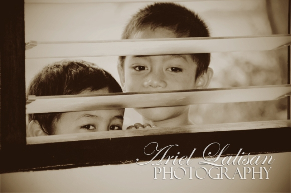 kids peering through the window