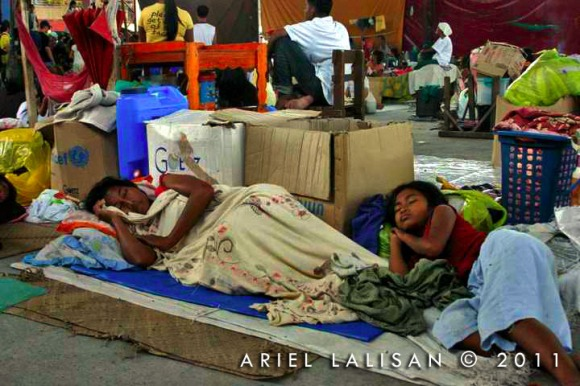 sleeping at the evacuation center