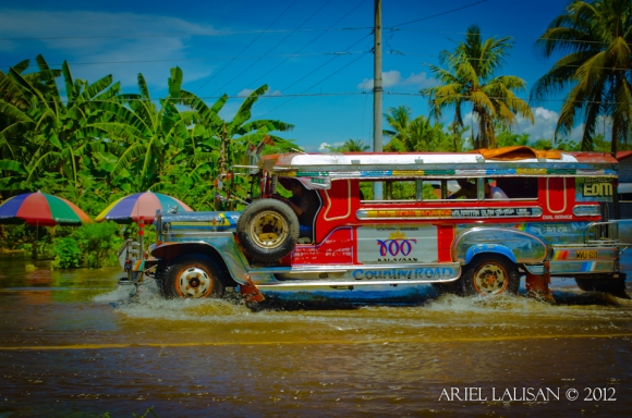 jeepney crossing floodwater